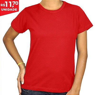 KIT 05 PEÇAS - Baby Look 100% algodão penteado vermelho