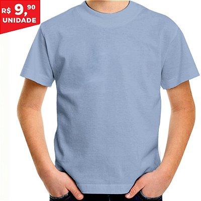 KIT 05 PEÇAS - Camiseta infantil 100% algodão penteado azul bebê