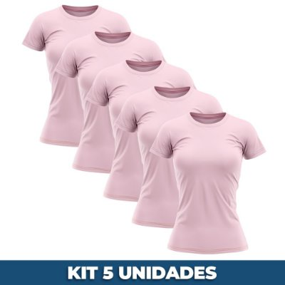 KIT 05 PEÇAS - Baby look helanquinha rosa bebê