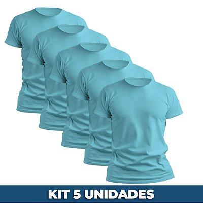 KIT 05 PEÇAS - Camiseta básica helanquinha azul bebê