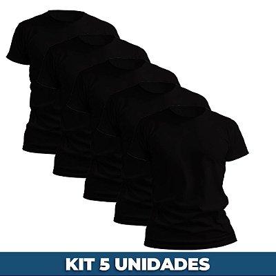 KIT 05 PEÇAS - Camiseta básica helanquinha preto