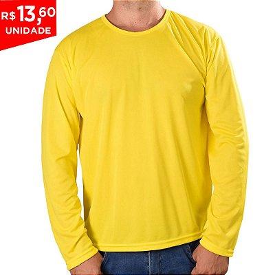 KIT 05 PEÇAS - Camiseta manga longa poliéster amarelo canário