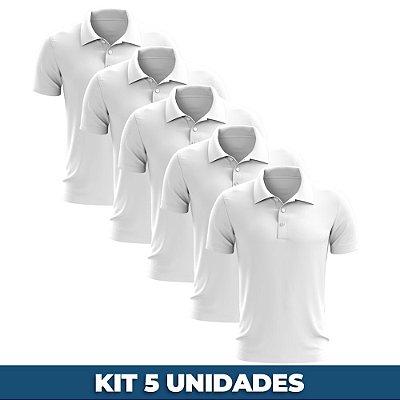 KIT 05 PEÇAS - Polo masculina piqué branca