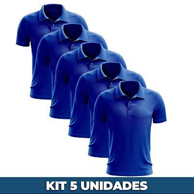 KIT 05 PEÇAS - Polo masculina piqué azul royal