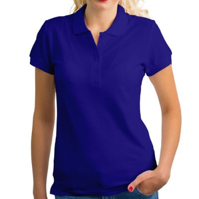 Polo feminina piqué azul royal