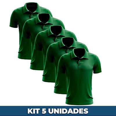 KIT 05 PEÇAS - Polo masculina piqué verde bandeira