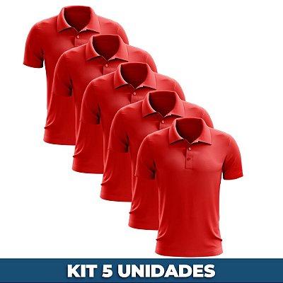 KIT 05 PEÇAS - Polo masculina piqué vermelho