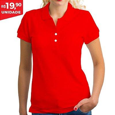 KIT 05 PEÇAS - Polo feminina piqué vermelho