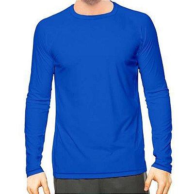 Camisa UV Masculina Azul Royal Fator 50+ Com Proteção Solar