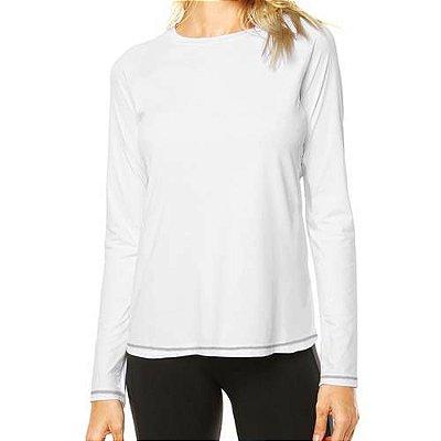 Camisa UV Feminina Branca Fator 50+ Com Proteção Solar