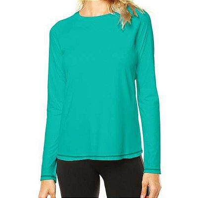 Camisa UV Feminina Verde Jade Fator 50+ Com Proteção Solar