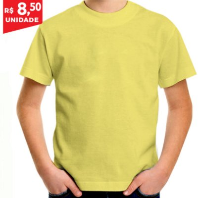KIT 05 PEÇAS - Camiseta infantil 100% algodão penteado amarelo bebê