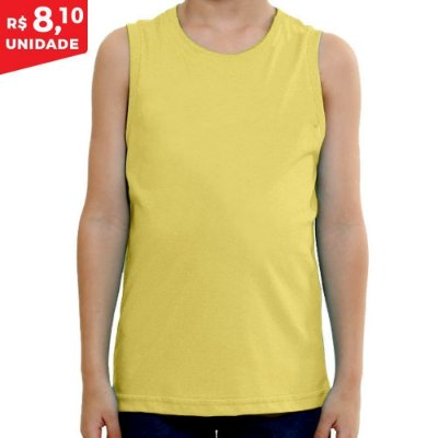 KIT 05 PEÇAS - Regata infantil 100% algodão penteado amarelo bebê