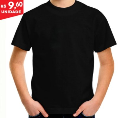 KIT 05 PEÇAS - Camiseta infantil 100% algodão penteado preto