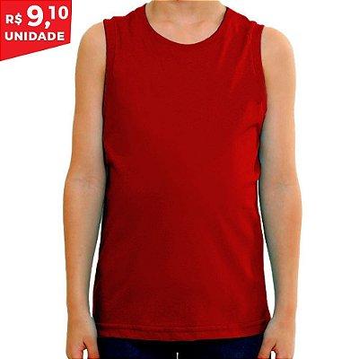KIT 05 PEÇAS - Regata infantil 100% algodão penteado vermelho