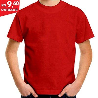 KIT 05 PEÇAS - Camiseta infantil 100% algodão penteado vermelho