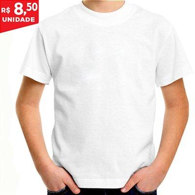 KIT 05 PEÇAS - Camiseta infantil 100% algodão penteado branco