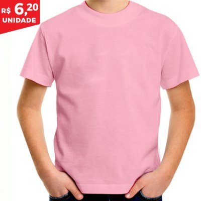 KIT 05 PEÇAS - Camiseta infantil helanquinha rosa bebê