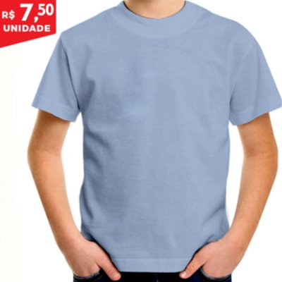 KIT 05 PEÇAS - Camiseta infantil Malha PP azul bebê