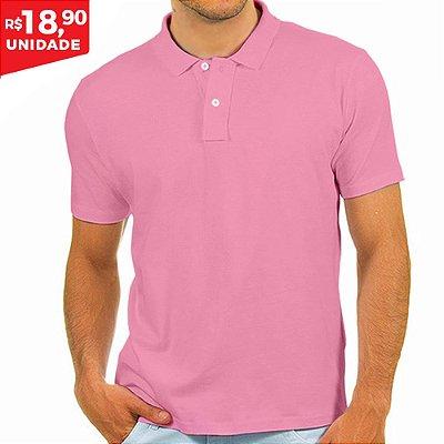 KIT 05 PEÇAS -  Polo masculina Malha PP rosa bebê