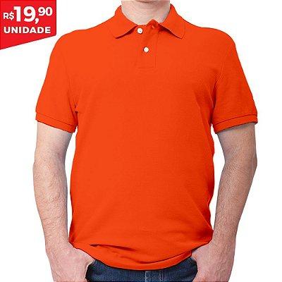 KIT 05 PEÇAS - Polo masculina piqué laranja
