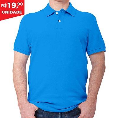 KIT 05 PEÇAS - Polo masculina piqué azul turquesa