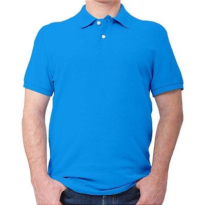 Polo masculina piqué azul turquesa