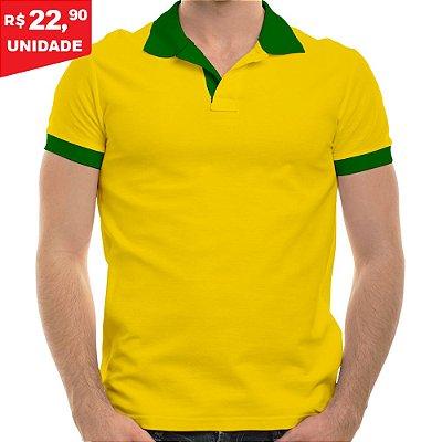 KIT 05 PEÇAS - Polo masculina piqué brasil amarelo canário