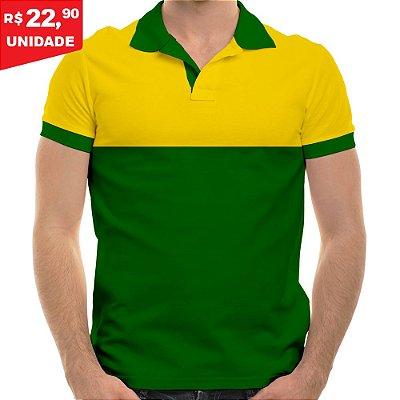 KIT 05 PEÇAS - Polo masculina piqué brasil amarelo canário e verde bandeira