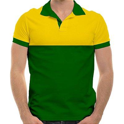 Polo masculina piqué brasil amarelo canário e verde bandeira