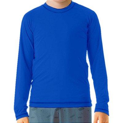 Camisa UV Infantil Unissex Azul Royal Fator 50+ Com Proteção Solar
