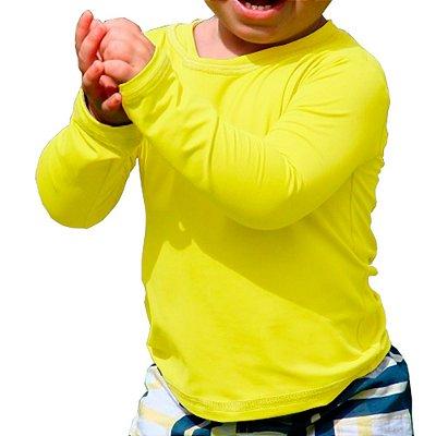 Camisa UV Baby Unissex Amarelo Bebe Fator 50+ Com Proteção Solar
