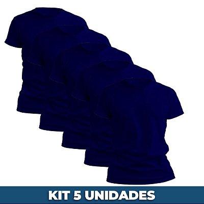 KIT 05 PEÇAS - Camiseta malha 100% algodão penteado azul marinho