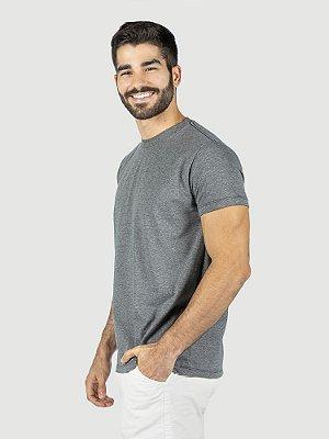 KIT 05 PEÇAS - Camiseta malha Premium 100% algodão penteado cinza mescla