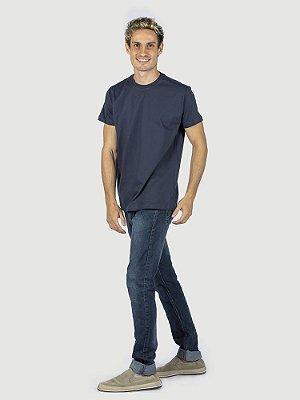 KIT 05 PEÇAS - Camiseta malha Premium 100% algodão penteado azul marinho
