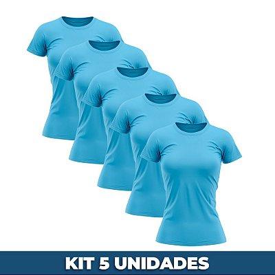 KIT 05 PEÇAS - Baby look 100% algodão penteado azul turquesa