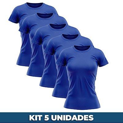 KIT 05 PEÇAS - Baby look 100% algodão penteado azul royal