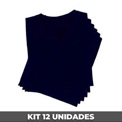 PACK 12 PEÇAS (2P, 4M, 4G, 2GG) - Camiseta malha 100% algodão penteado azul marinho