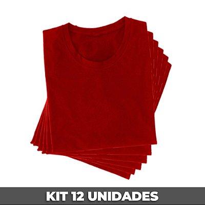 PACK 12 PEÇAS (2P, 4M, 4G, 2GG) - Camiseta malha 100% algodão penteado vermelho