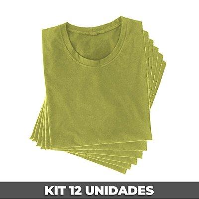 PACK 12 PEÇAS (2P, 4M, 4G, 2GG) - Camiseta malha PP amarelo bebê