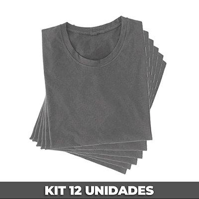 PACK 12 PEÇAS (2P, 4M, 4G, 2GG) - Camiseta malha Premium 100% algodão penteado cinza