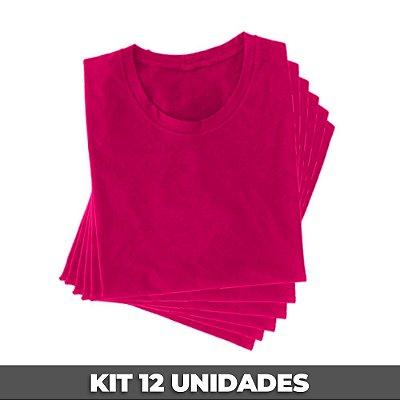 PACK 12 PEÇAS (2P, 4M, 4G, 2GG) Camiseta básica helanquinha rosa chiclete