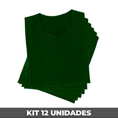 PACK 12 PEÇAS (2P, 4M, 4G, 2GG) Camiseta básica helanquinha verde bandeira