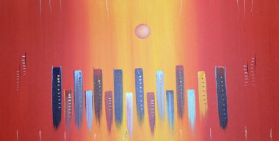 Quadro Decorativo Poster Abstrato Colunas em Canvas