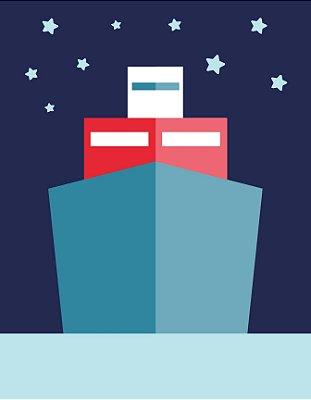Quadro Decorativo Poster Barco em Desenho