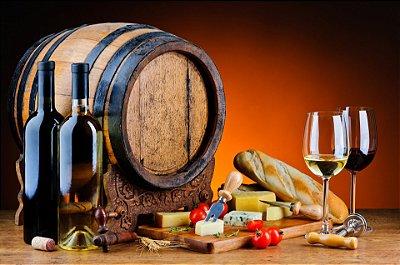 Quadro Decorativo Poster Pão e Vinho em Canvas