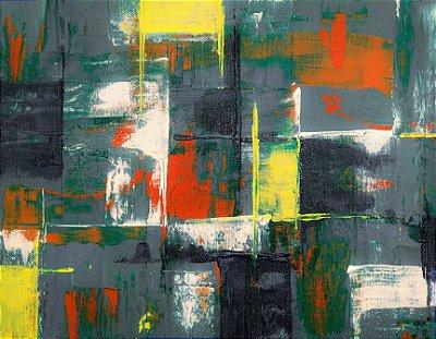 Quadro Decorativo Poster Abstrato Cinza em Canvas