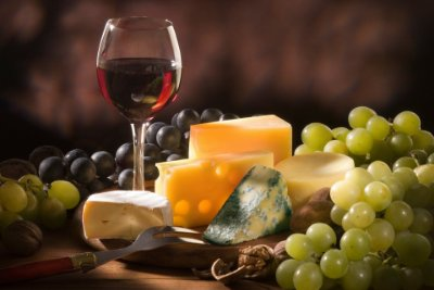 Quadro Decorativo Poster Vinho e Queijos