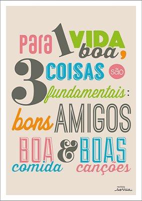 Quadro Decorativo Poster Para Uma Vida Boa em Canvas