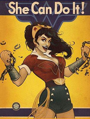 Quadro Decorativo Poster Wonder Woman Can